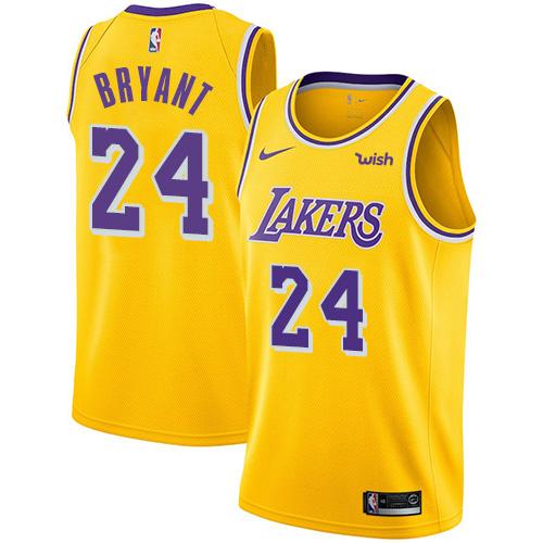 Kobe Bryant Jersey Lakers #24 Yellow Men's NBA